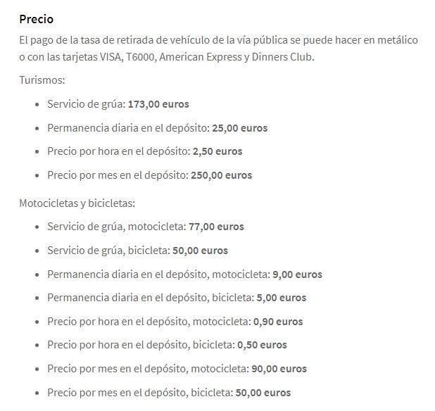 precios grua municipal barcelona multas deposito